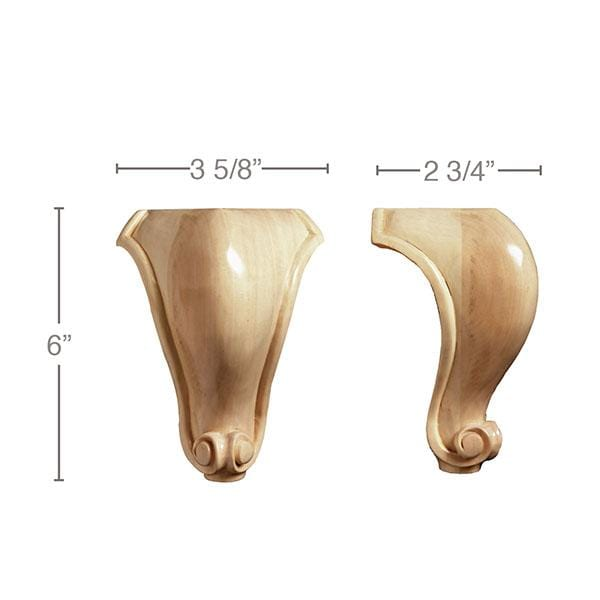 Tall Traditional Corner Foot Sold 1 Per Package 3 5 8 W X 6 H X 2 3 Mouldings Com