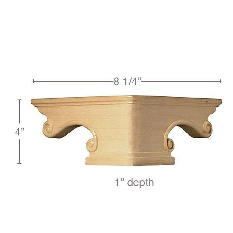 "Pedestal Foot Corner(Sold 1 per package), 8 1/4""w x 4""h x 8 1/4""d"