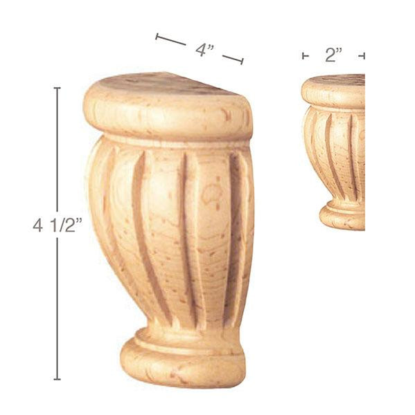 "Fluted Split Foot, 1 Pair, 4""w x 4 1/2""h x 2""d'"