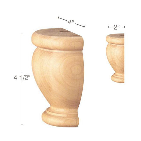 "Traditional Split Foot, 1 Pair, 4""w x 4 1/2""h x 2""d"