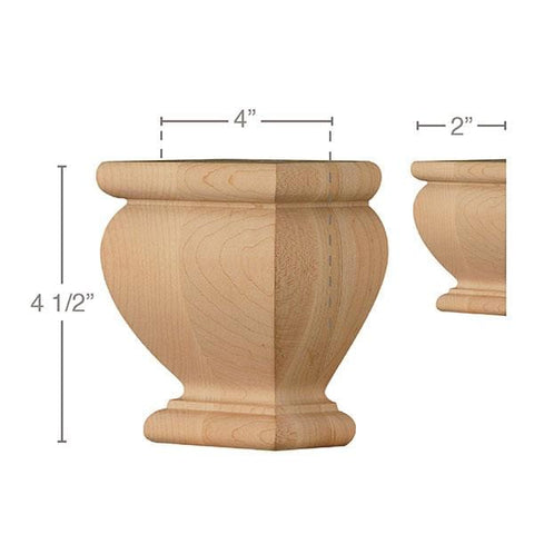 "Square Traditional Split Foot, 1 Pair, 4""w x 4 1/2""h x 2""d"