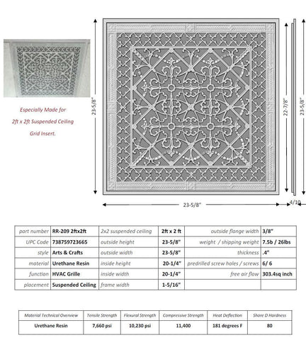 "ARTS AND CRAFTS GRILLE STYLE T-BAR CEILING GRILLE Size of 2""- Please allow 1-2 weeks."