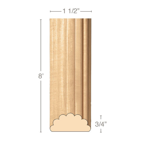 "Medium Reeded Half Round Lineal, 1 1/2""w x 3/4""d x 8' length, Resin is priced per 8' length"