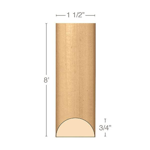 "Medium Traditional Half Round Lineal, 1 1/2""w x 3/4""d x 8' length, Resin is priced per foot."