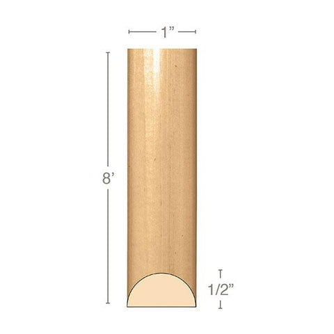 "Small Traditional Half Round Lineal, 1""w x 1/2""d x 8' length, Resin is priced per 8' length"