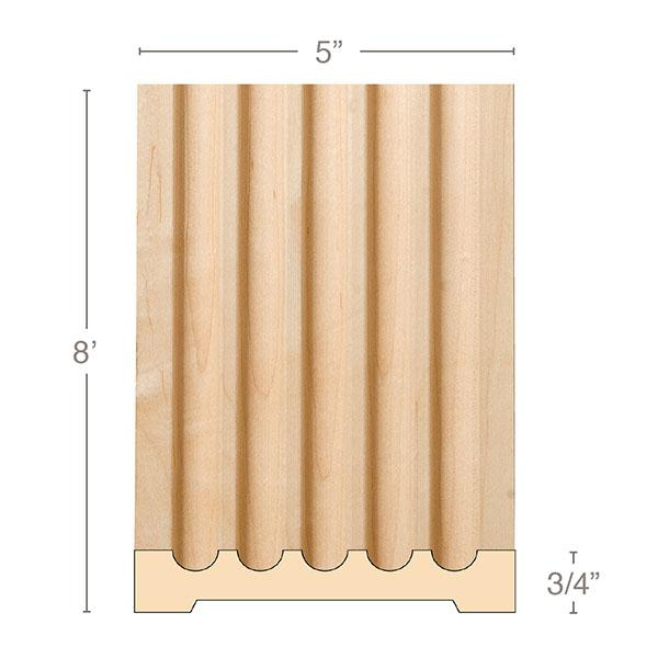 "Extra Large Fluted Pilaster, 5""w x 3/4""d x 8' length, Resin is priced per 8' length"