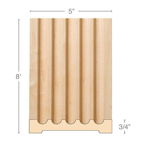 "Extra Large Fluted Pilaster, 5""w x 3/4""d x 8' length"