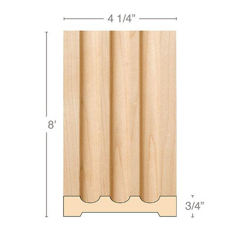 "Large Fluted Pilaster, 4 1/4""w x 3/4""d x 8' length, Resin is priced per foot."