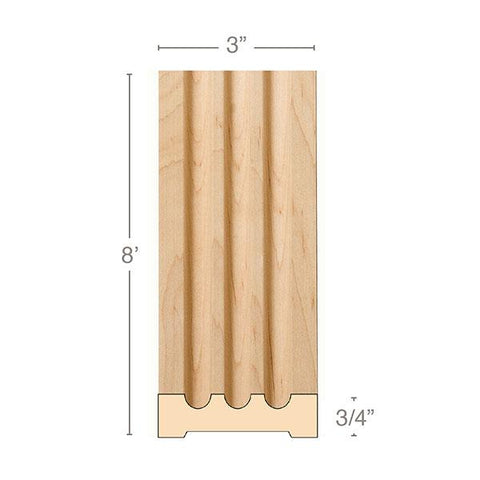 "Medium Fluted Pilaster, 3""w x 3/4""d x 8' length, Resin is priced per 8' length"