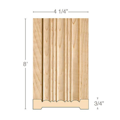 Reeded Pilaster large, 4 1/4''w x 3/4''d x 8' length, Resin is priced per 8' length