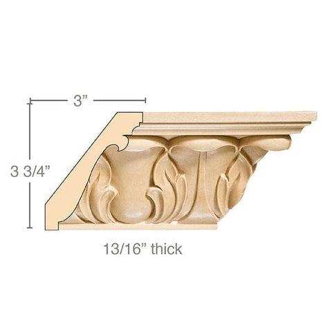 Extra Large Acanthus Crown, 4 3/4''w x 13/16''d, repeat 4 3/8, x 8' length, Resin is priced per 8' length
