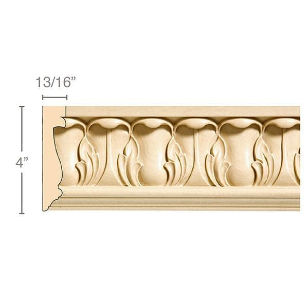 "Large Acanthus Frieze, 4""w x 13/16''d, repeat 3 1/8,  x 8' length"