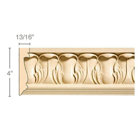 "Large Acanthus Frieze, 4""w x 13/16''d, repeat 3 1/8,  x 8' length, Resin is priced per 8' length"