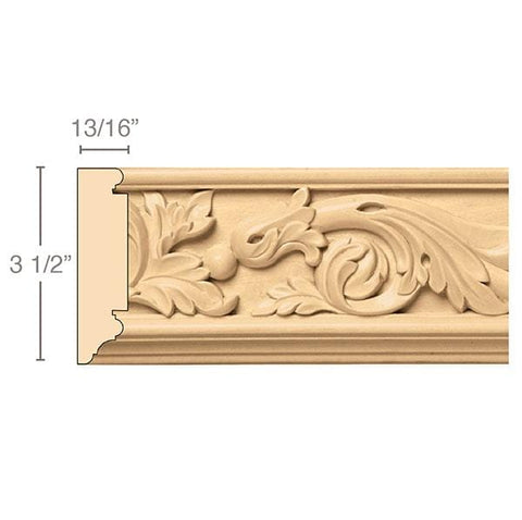 Acanthus Scrolls(Repeats 10), 3 1/2''w x 13/16''d x 8' length, Resin is priced per 8' length