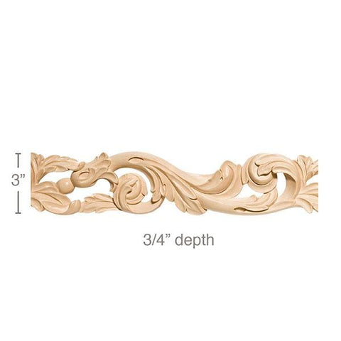 "Pierced Acanthus Scrolls Frieze, 3""w x 3/4""d, repeat 13,  x 8' length, Resin is priced per 8' length"