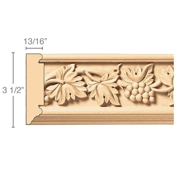 Vineyard Frieze(Repeats 17 3/4), 3 1/2''w x 13/16''d x 8' length, Resin is priced per 8' length