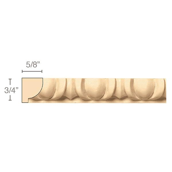 Egg & Dart(Repeats 1 7/8), 3/4''w x 5/8''d x 8' length, Resin is priced per 8' length