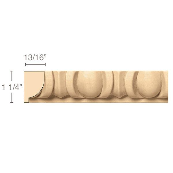 Egg & Dart(Repeats 2 3/8), 1 1/4''w x 13/16''d x 8' length, Resin is priced per 8' length