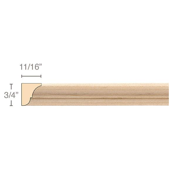 Moulding, 3/4''w x 11/16''d x 8' length, Resin is priced per 8' length