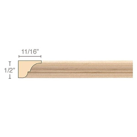 Moulding, 1/2''w x 11/16''d x 8' length, Resin is priced per 8' length