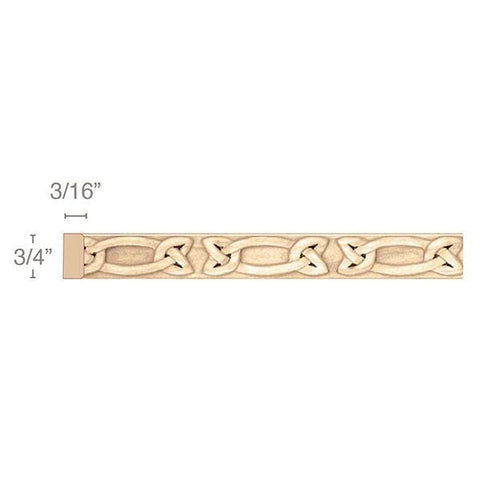 "Gaelic Light Rail Insert Moulding, 3/4""w x 3/16""d x 8' length"