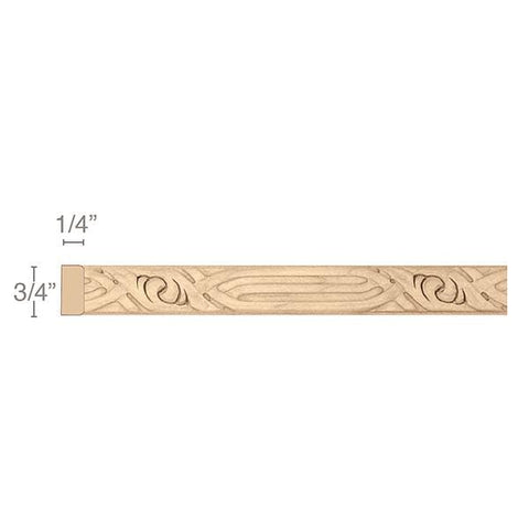 "Nouveau Light Rail Moulding Insert, 3/4""w x 1/4""d x 8' length"
