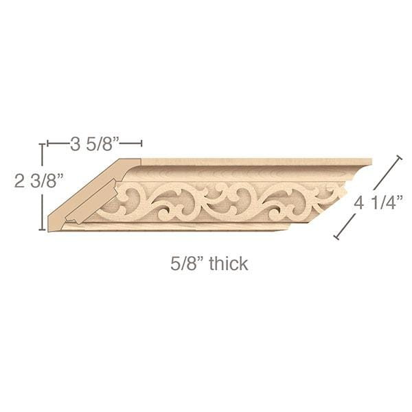 "Crown Moulding with Baroque Insert, 4 1/4""w x 5/8""d x 8' length"