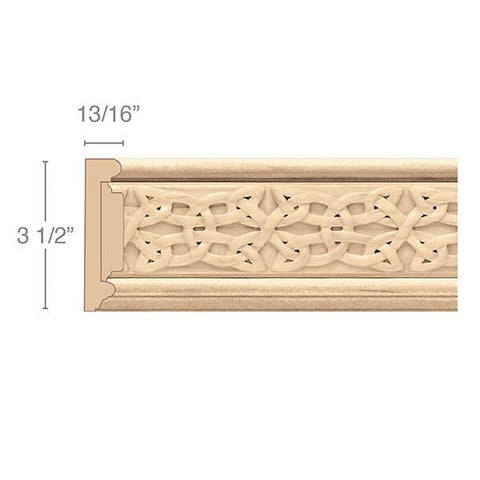 "Panel Moulding With Gaelic Insert, 3 1/2""w x 13/16""d x 8' length"
