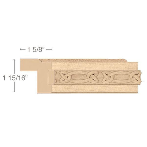 Contemporary Light Rail Moulding With Gaelic Insert, 1 15/16 x 1 5/8 x 8' length