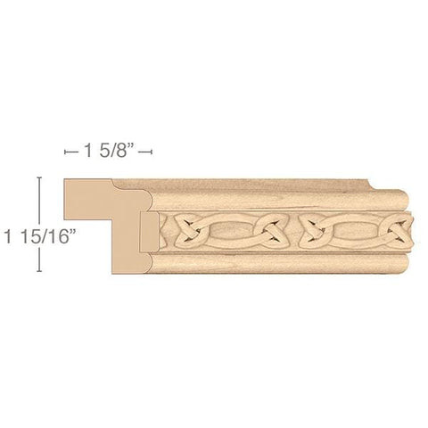 "Traditional Light Rail Moulding With Gaelic Insert, 1 15/16""w x 1 5/8""d x 8' length"