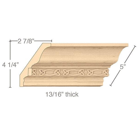 "Light Rail Crown Moulding With Gaelic Insert, 5""w x 13/16""d x 8' length"