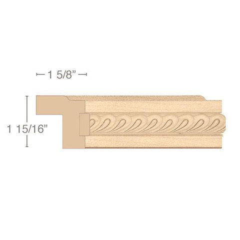 "Contemporary Light Rail Moulding With Madeline Insert, 1 15/16""w x 1 5/8""d x 8' length"