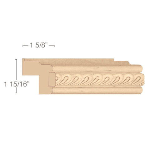 "Traditional Light Rail Moulding With Madeline Insert, 1 15/16""w x 1 5/8""d x 8' length"