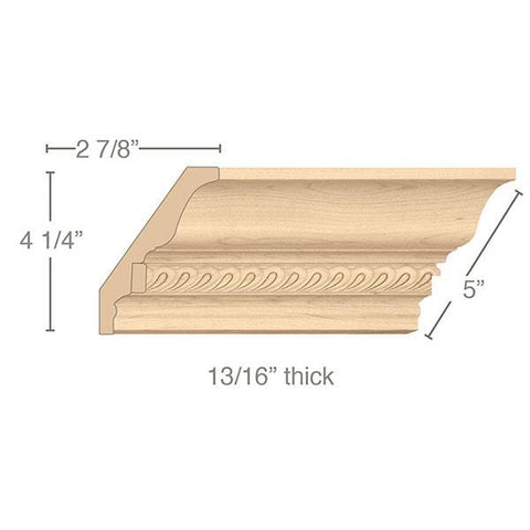 "Light Rail Crown Moulding With Madeline Insert, 5""w x 13/16""d x 8' length"
