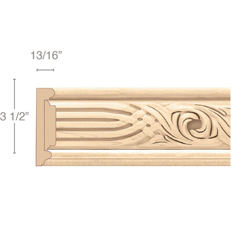 "Panel Moulding With Nouveau Insert, 3 1/2""w x 13/16""d x 8' length"