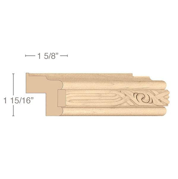 "Traditional Light Rail Moulding With Nouveau Insert, 1 15/16""w x 1 5/8""d x 8' length"