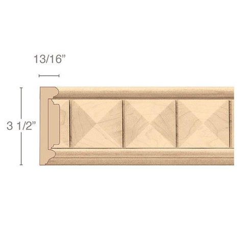 "Frieze With Pinnacle Insert, 3 1/2""w x 13/16""d x 8' length"