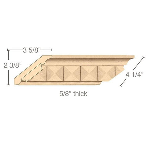 "Crown Moulding With Pinnacle Insert, 4 1/4""w x 5/8""d x 8' length"
