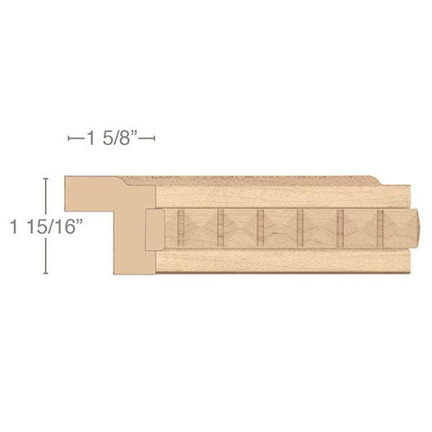 "Contemporary Light Rail Moulding With Pinnacle Insert, 1 15/16""w x 1 5/8""d x 8' length"