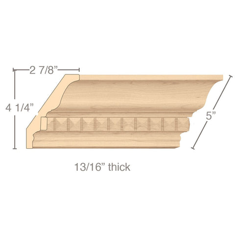 "Light Rail Crown Moulding With Pinnacle Insert, 5""w x 13/16""d x 8' length"