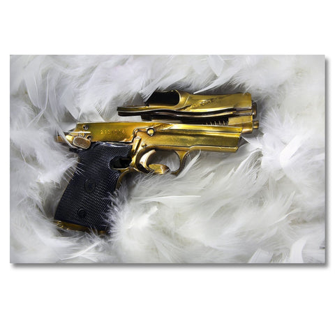 Goldfinger - Photo is made using crushed guns taken off the street by the police.