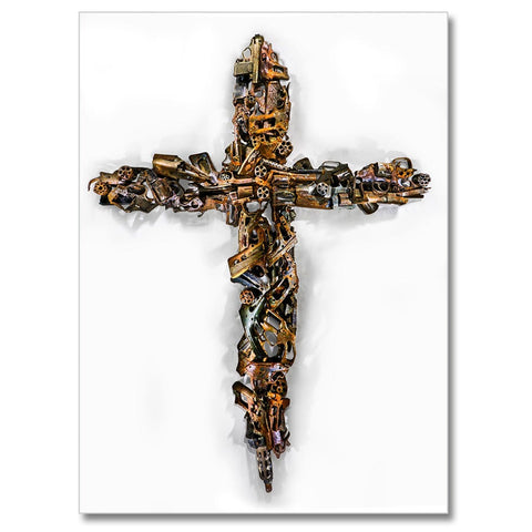 Cross to Bear, Photo is made using crushed guns taken off the street by the police.