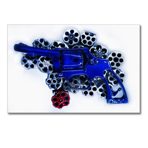 America, Photo is made using crushed guns taken off the street by the police.