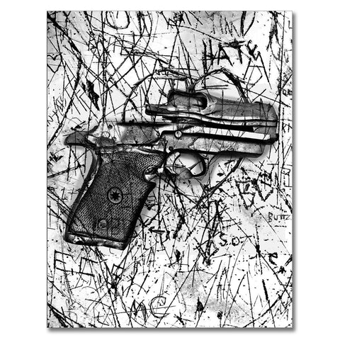 Lawless Terrain, Photo is made using crushed guns taken off the street by the police.