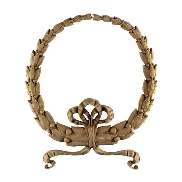 "Empire Wreath Onlay, 7""w x 8""h x 1/2""d, Made to Order, Not Returnable, MINIMUM ORDER AMOUNT $200"