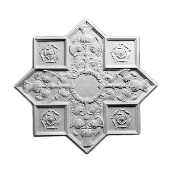 "Renaissance Medallion, Plaster, 27""w x 25 1/2""h x 1/2""d, Made to Order, Not Returnable"
