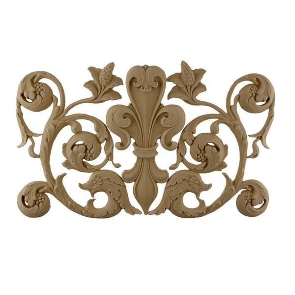 "Fleur de Lis w/ Scrolls, 15 3/4""w x 9 3/4""h x 3/8""d, Made to Order, Not Returnable"