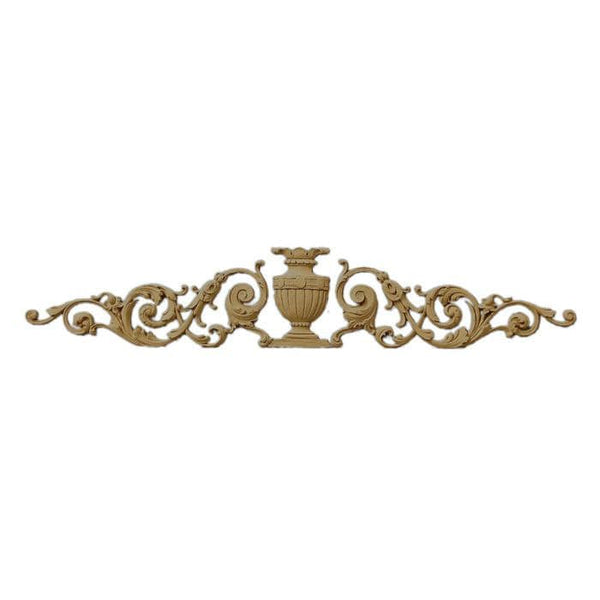 "Renaissance Urn With Side Scrolls Onlay, 24 1/2""w x 4 3/4""h x 1/4""d, Made to Order, Not Returnable"