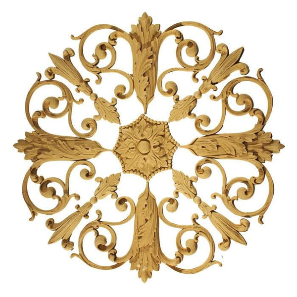 "Empire Rosette Medallion, 15""w x 15""h x 1/2""d, Made to Order, Not Returnable, MINIMUM ORDER AMOUNT $200"