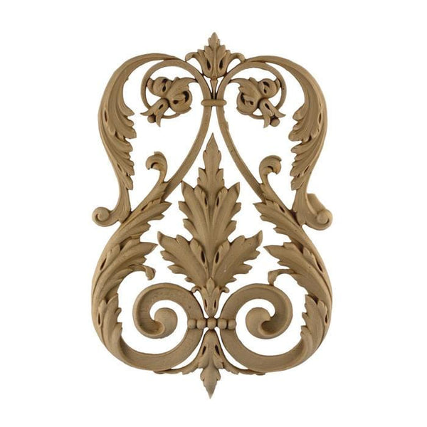 "Empire Acanthus Scroll Design Onlay, 8""w x 12""h x 3/4""d, Made to Order, Not Returnable, MINIMUM ORDER AMOUNT $200"